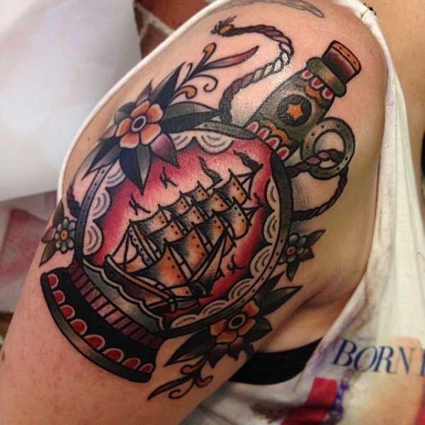 ship in a bottle das t towierte buddelschiff tattoo spirit. Black Bedroom Furniture Sets. Home Design Ideas