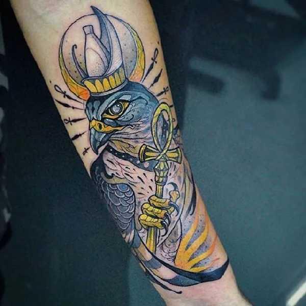 Die gyptischen g tter horus und ra tattoo spirit - Oeil d horus tatouage ...