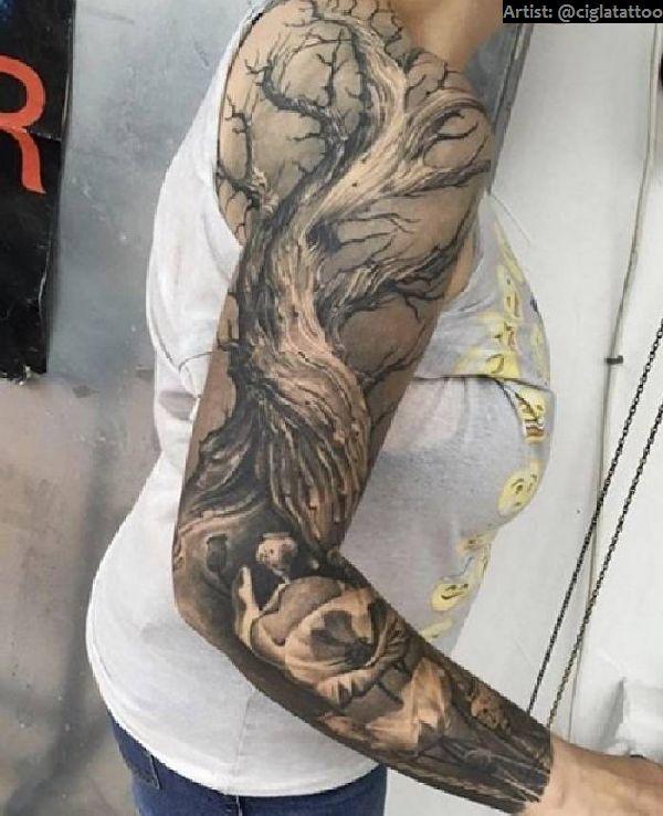 40 grandiose arm sleeve tattoos tattoo spirit. Black Bedroom Furniture Sets. Home Design Ideas