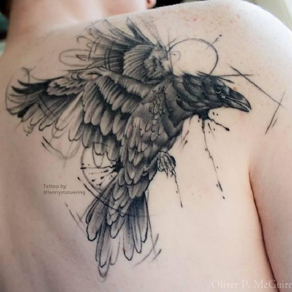 40 amazing raven tattoos tattoo spirit. Black Bedroom Furniture Sets. Home Design Ideas